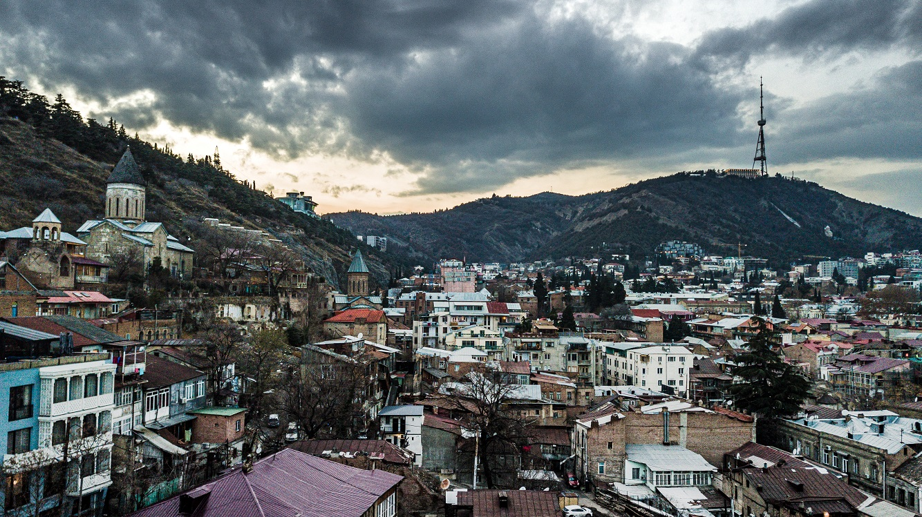 Drone old city Tbilisi